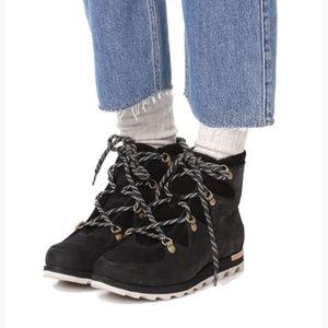 Sorel Sneakchic Alpine Booties Womens Lace Black